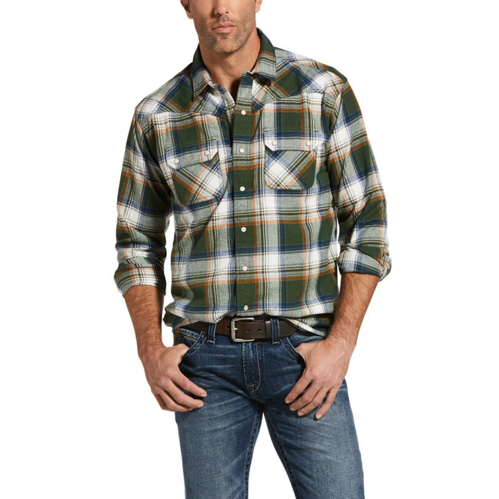 Ariat Men's Ariat Hacienda Retro Fit Shirt Duffel Green 10032891