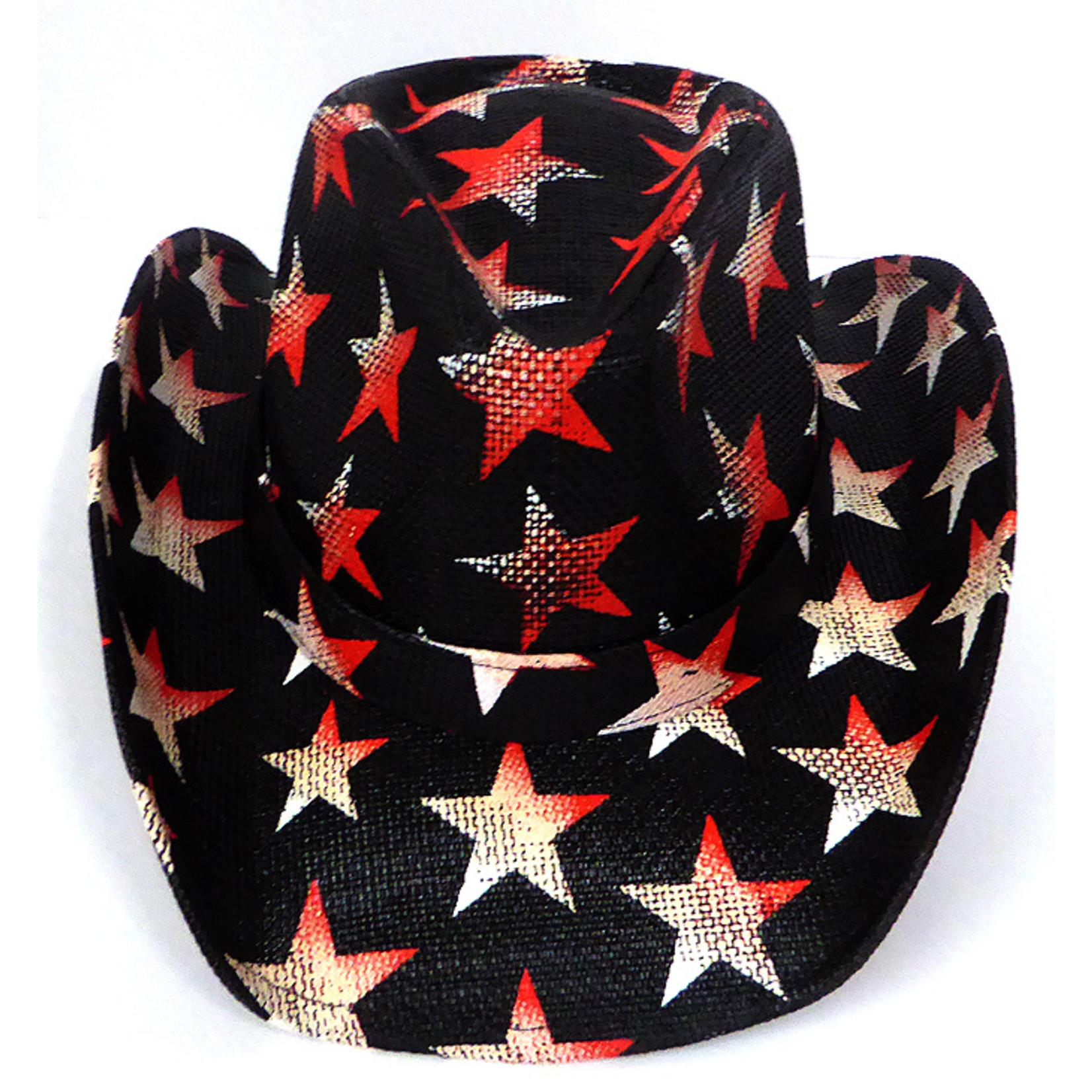 Crown Hat Crown American Patriot Stars Straw Black 8530
