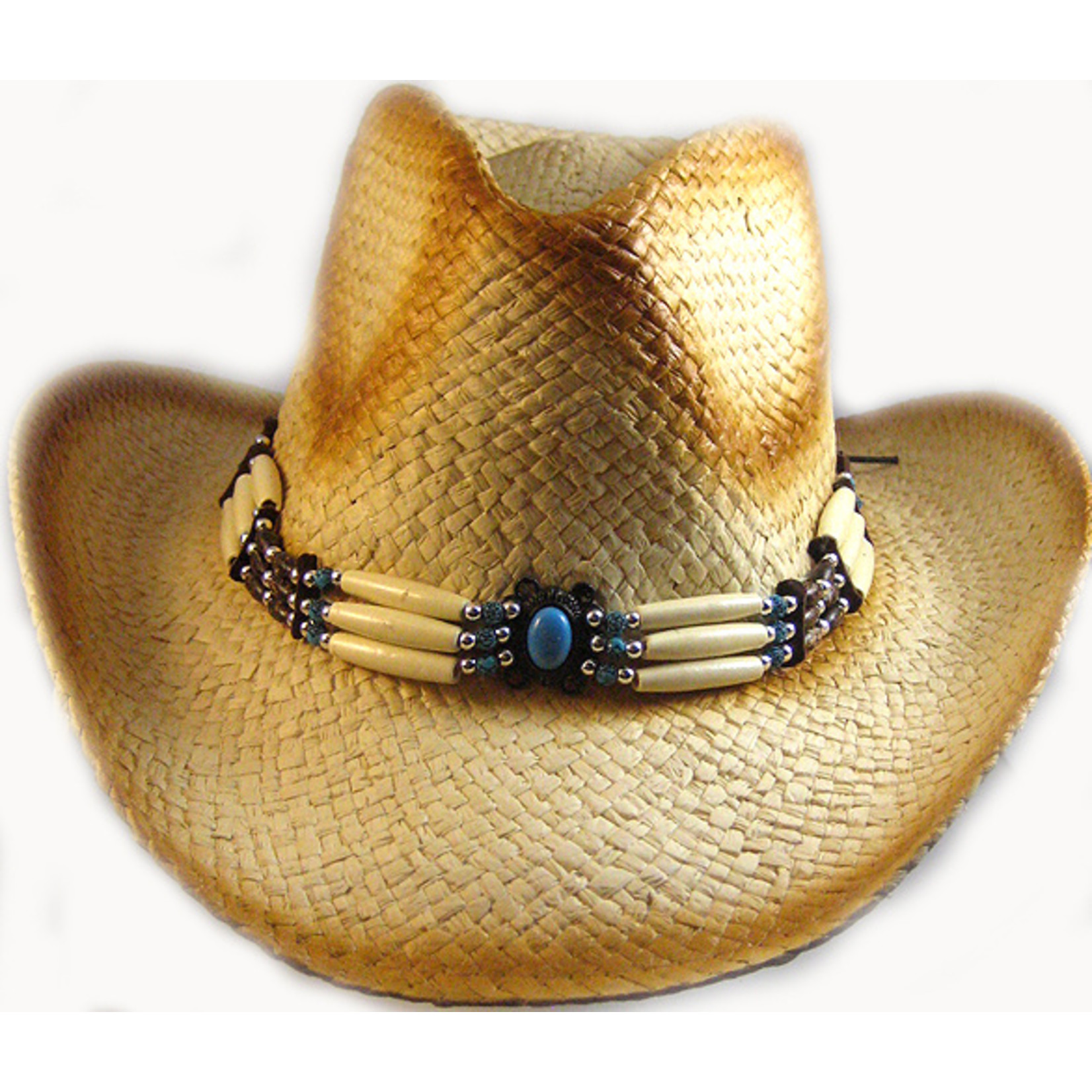 Crown Hat Crown Straw & Beads Straw Brown 289