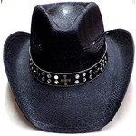 Crown Hat Crown Beads & Buttons Straw Black 8844