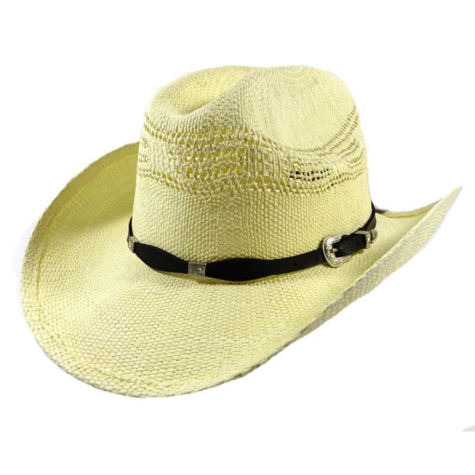 Crown Hat Crown Raffia Khaki & Black Band Straw 4527