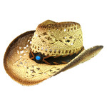 Crown Hat Crown Bead Band Outback Tea Stained Straw 2590