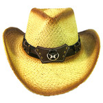 Crown Hat Crown Brown Band & Longhorn Lone Star Straw 1438