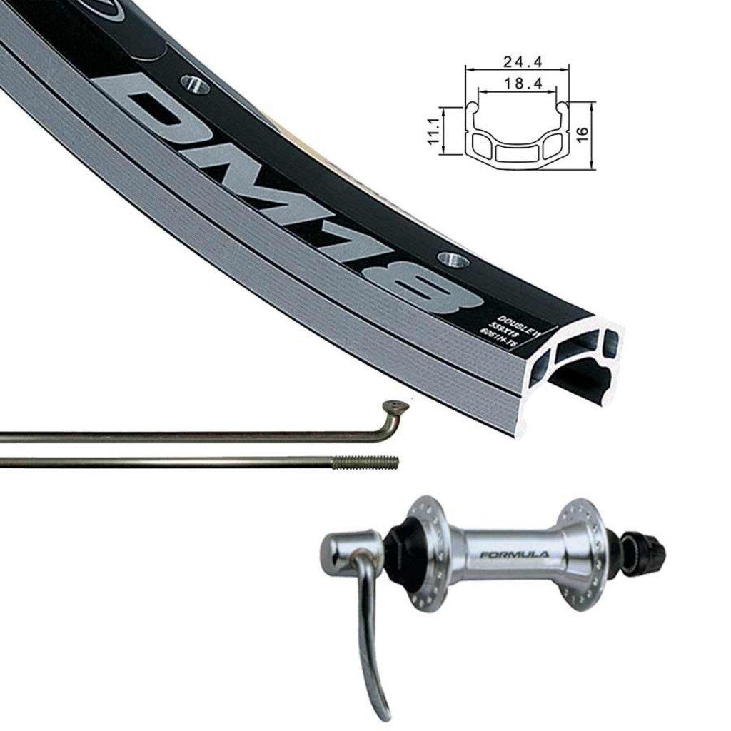 AlexRims 700 Front - WShop/Alex DM18 - Formula FM-21-QR Hub - 16mm Rim Depth - 36 Spokes - Black/Silver