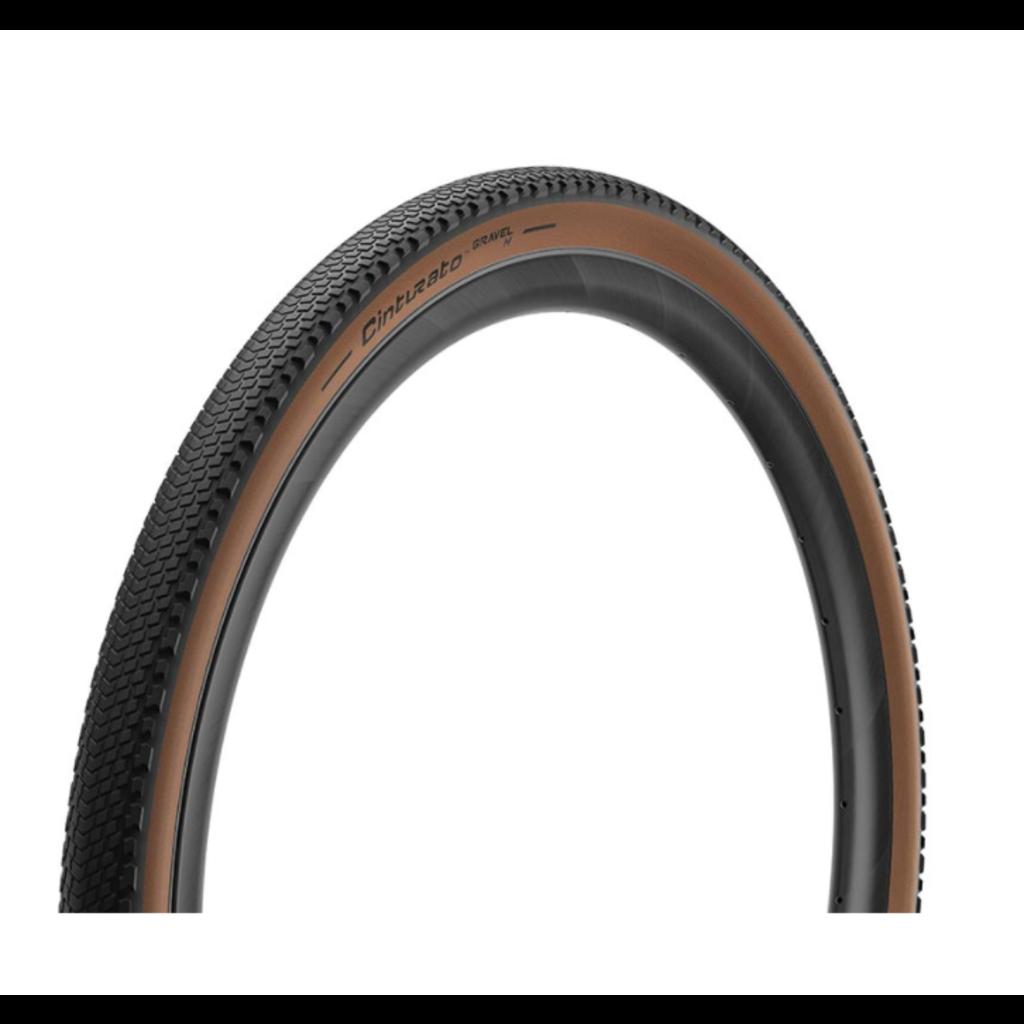Pirelli Pirelli, Cinturato Gravel H, Tire, 700x45C, Folding, Tubeless Ready, SpeedGrip, 127TPI, Tanwall