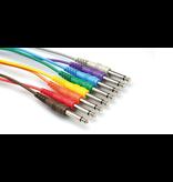 "Hosa Patch Cables, 1/4"", Mono (Unbalanced), Multicolor, 12"", 8pk"