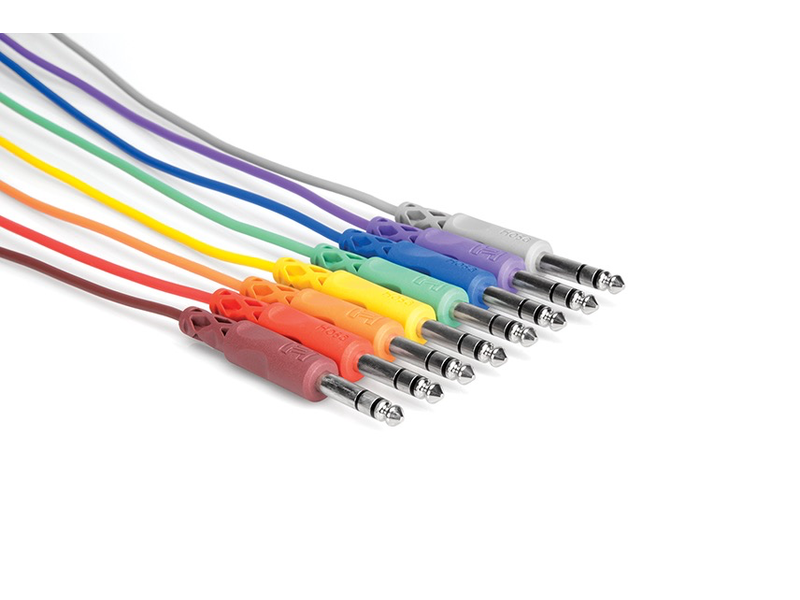 """Hosa Patch Cables, 1/4"""", Stereo (Balanced), Multicolor, 12"""", 8pk"""