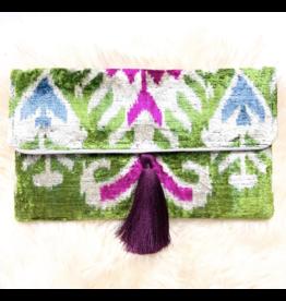Wolf & Rose Jewelry Bag Fuscia Flower Olivia Silk