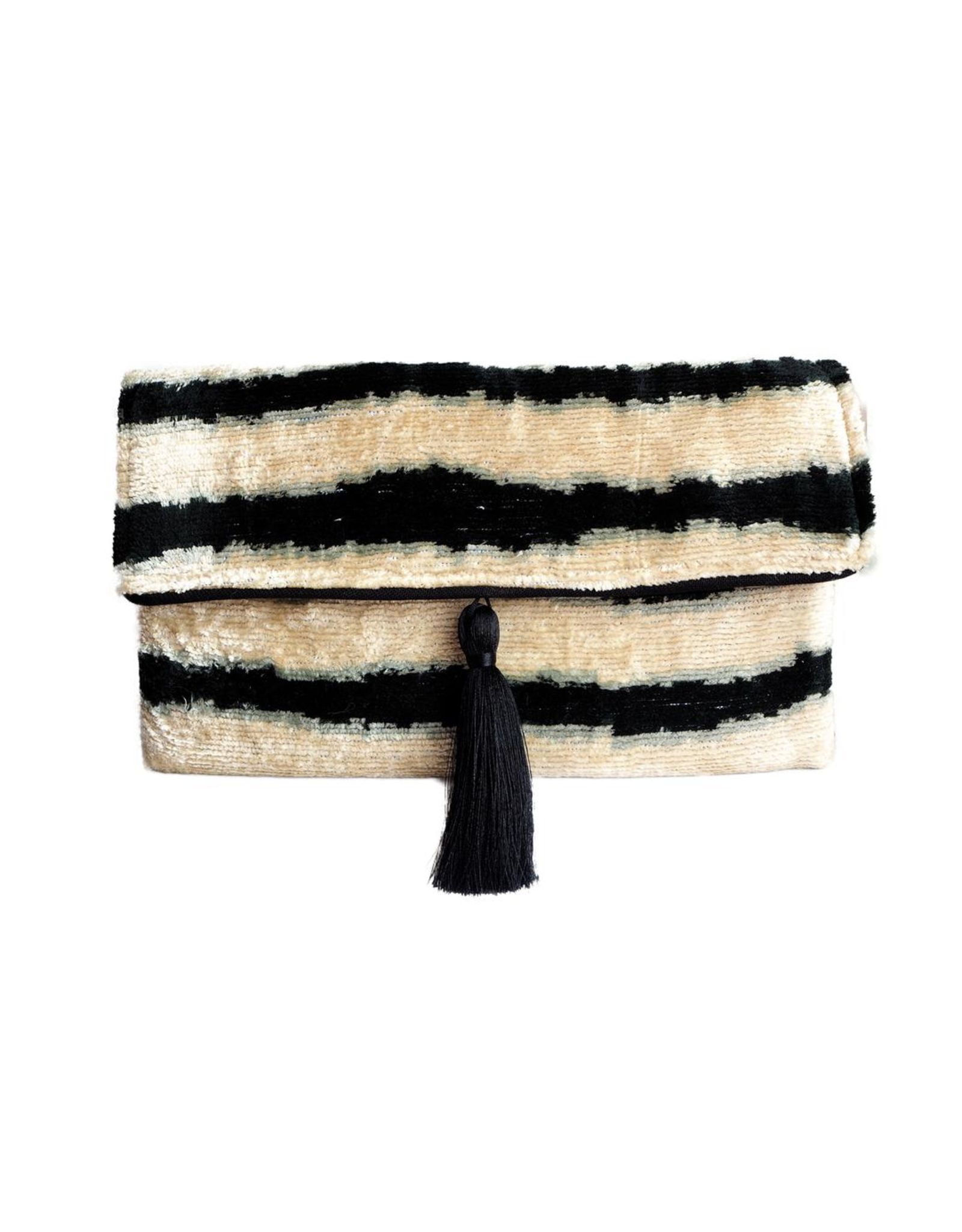 Wolf & Rose Jewelry Bag Abstract Black & White Line Silk Olivia