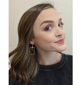 Wolf & Rose Jewelry Earrings Rectangle W/ Raw Stone Black Tourmaline