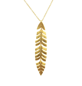 Wolf & Rose Jewelry Necklace Long Leaf Pendant