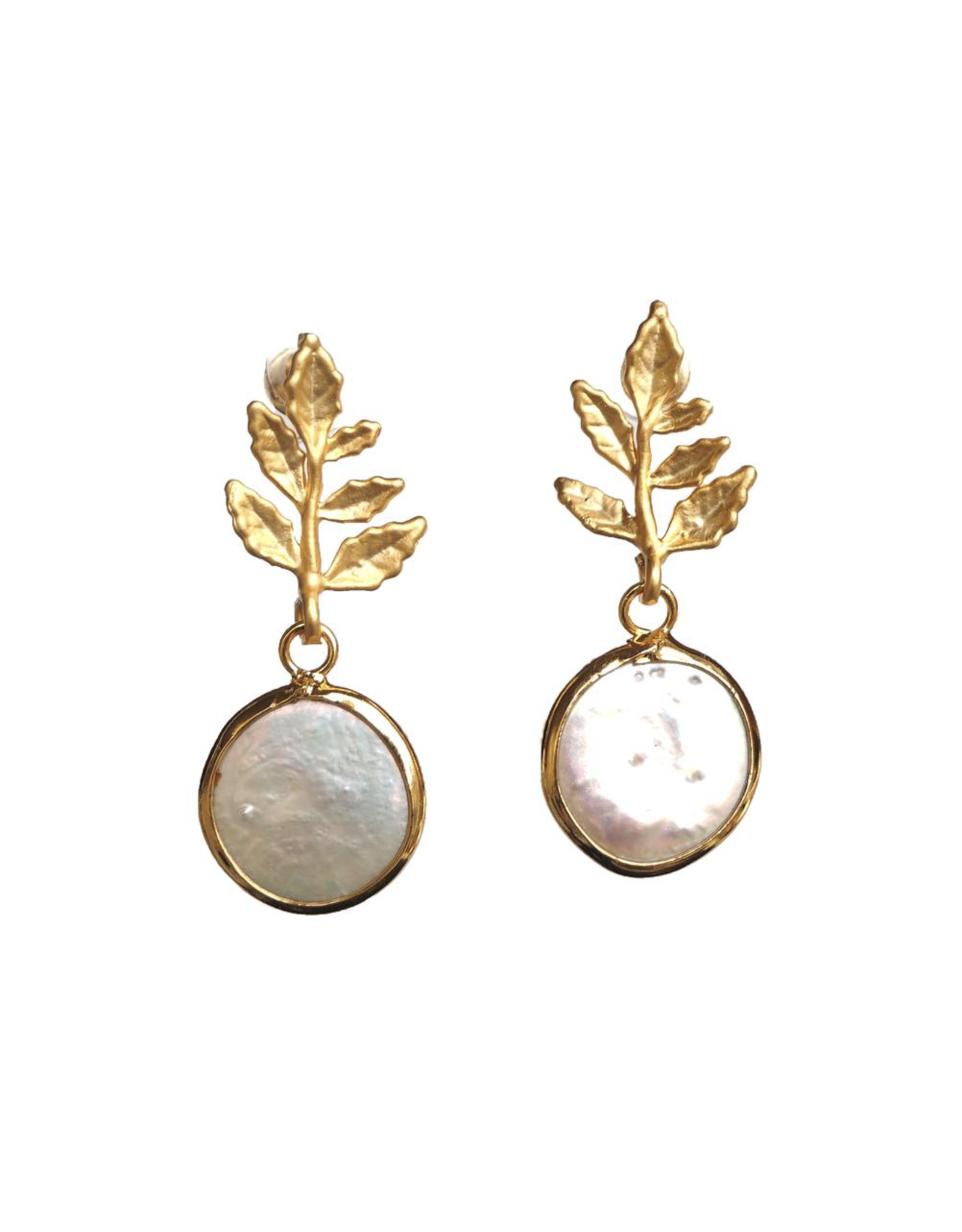 Wolf & Rose Jewelry Earrings Leaf With Pearl Drop