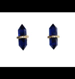 Wolf & Rose Jewelry Earrings Corundum Blue And Cz