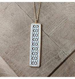 Bo B.K.  Designs Long Necklace Color Bar White