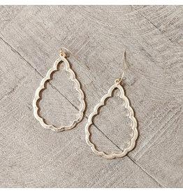 Bo B.K.  Designs Earring Gold Scalloped Teardrop