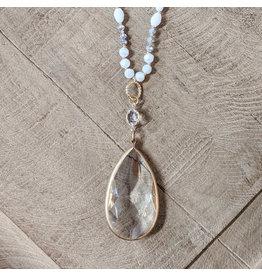 Bo B.K.  Designs Necklace Crystal Pendant White