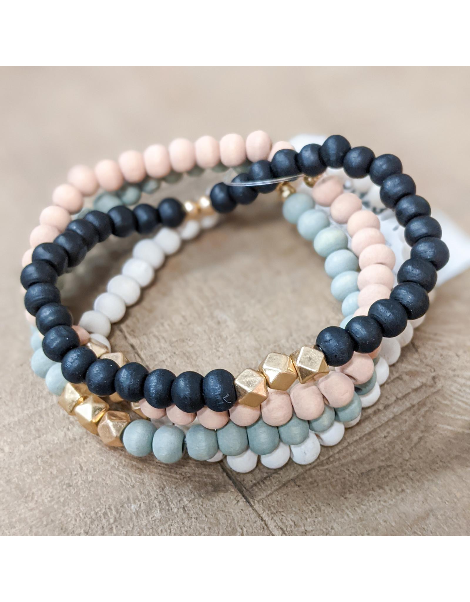 Bo B.K.  Designs Bracelet 4pk Stretch Wood Pink