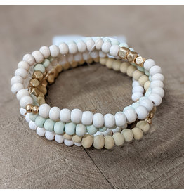 Bo B.K.  Designs Bracelet 4pk Stretch Wood Pastel