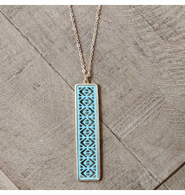 Bo B.K.  Designs Long Necklace Color Bar Turquoise