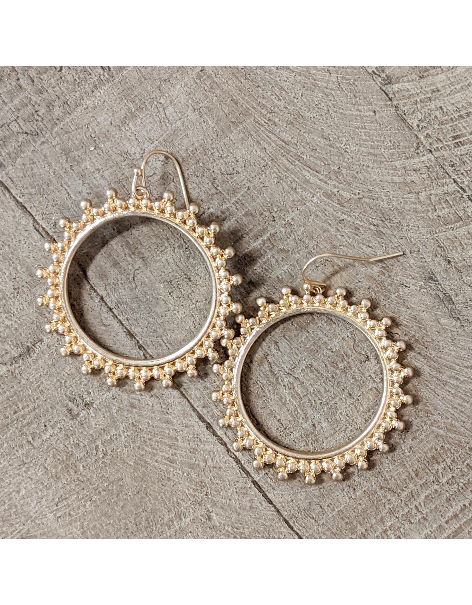Bo B.K.  Designs Earring Decorative Hoop Gold