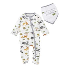 Mud Pie Sleeper with Bib Safari