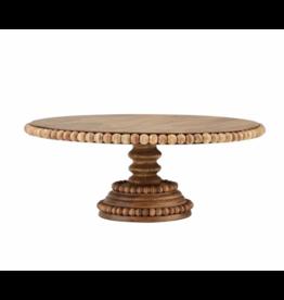 Mud Pie Beaded Wood Pedestal Tray