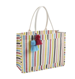 Mud Pie Jute Tote Multi Stripe