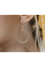 Ronaldo Earrings Power Of Prayer Hoops Gold With Silver Beads