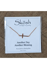 Skosh Necklace Brushed Cross Rose Gold
