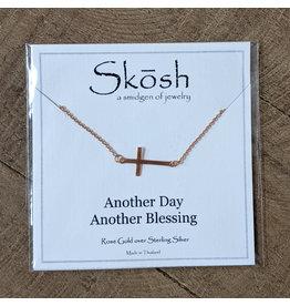 Skosh Necklace Brushed Cross Rose Gold