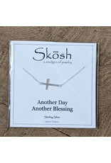 Skosh Necklace Sideways Cross Silver