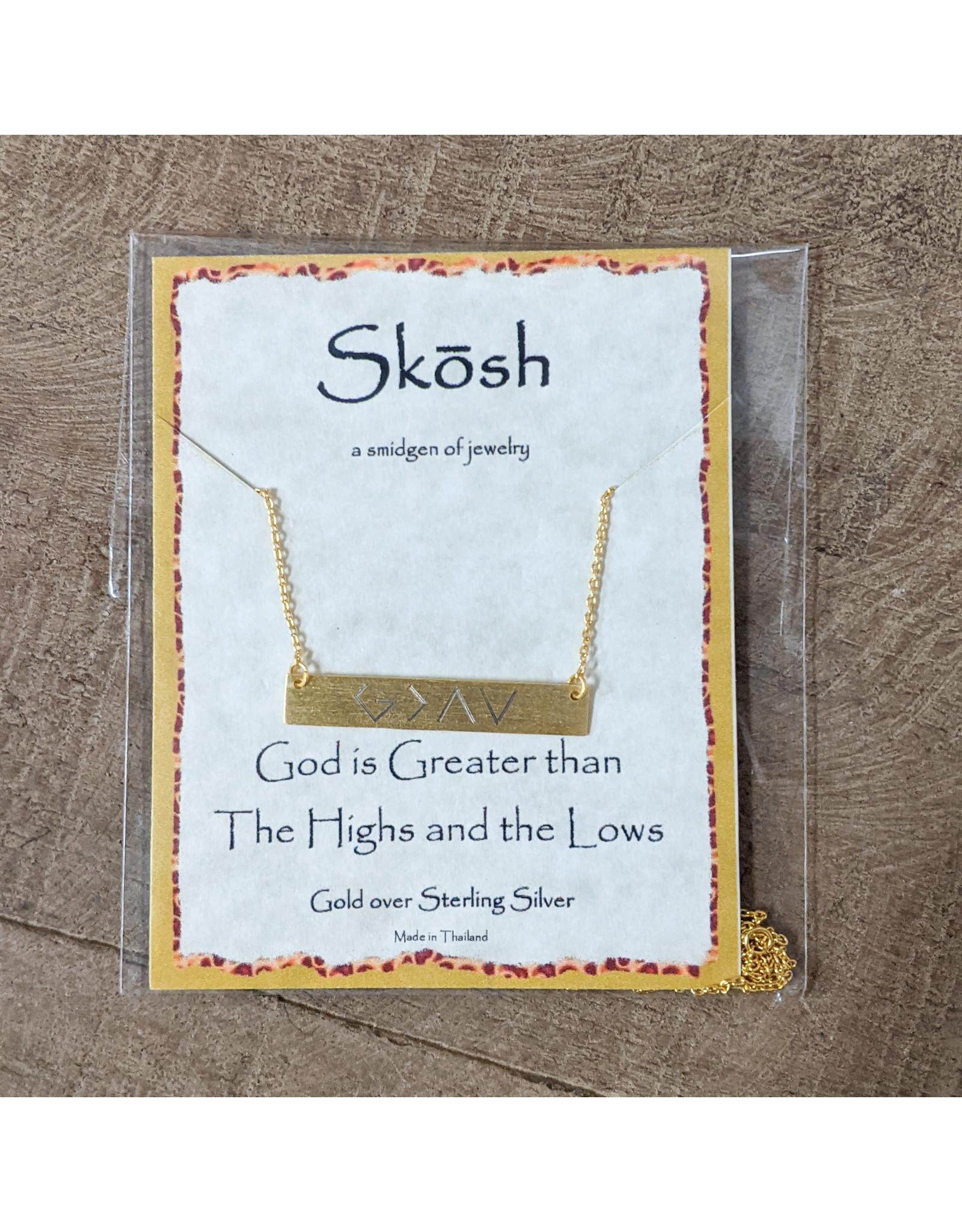Skosh Necklace God Greater Gld Long