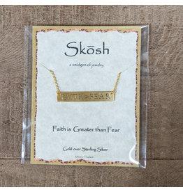 Skosh Necklace Faith>Fear Long Bar Gold