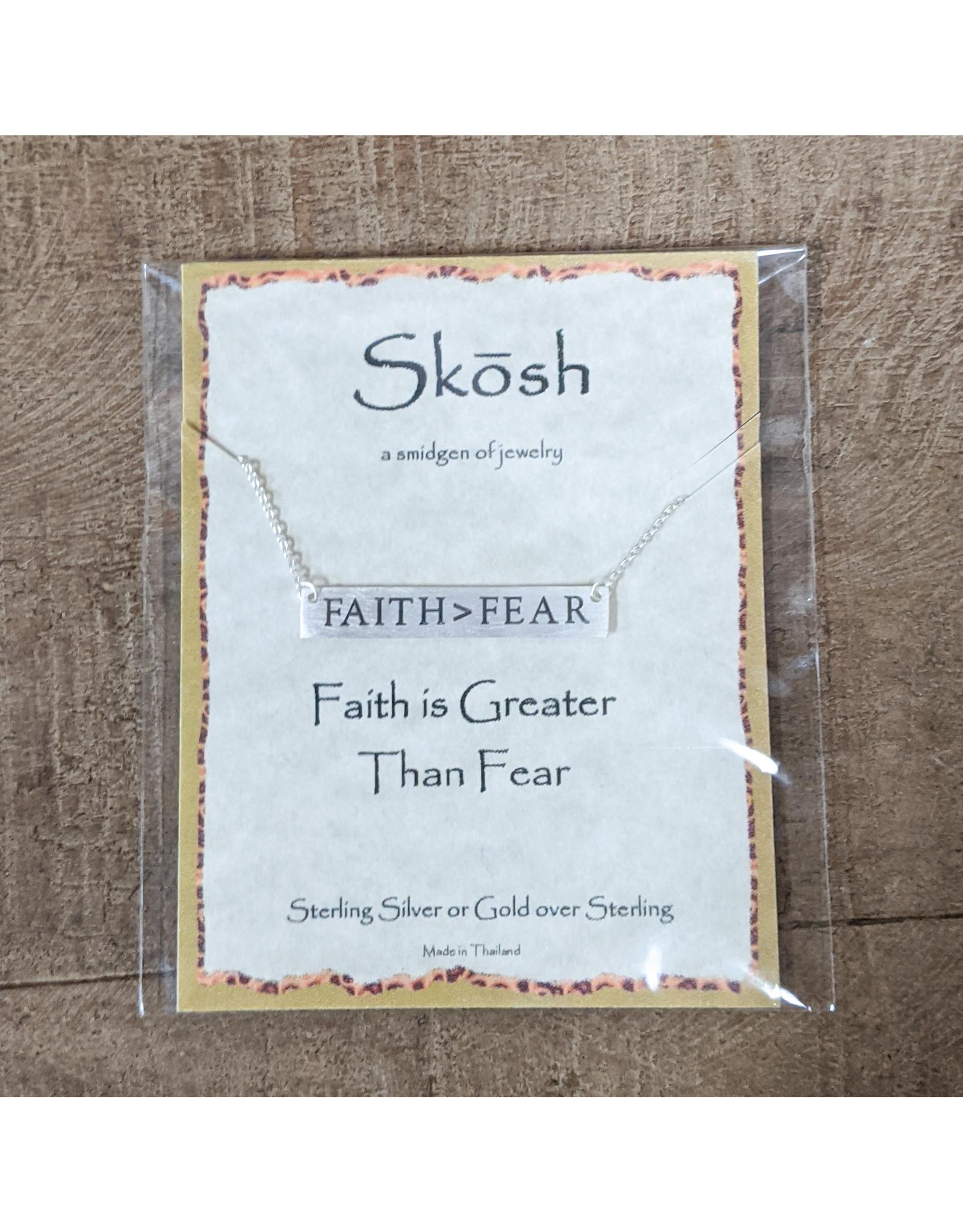 Skosh Necklace Faith>Fear Long Bar Silver