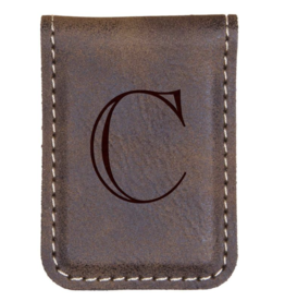 P Graham Dunn Faux Leather Money Clip Brown Includes Engraving