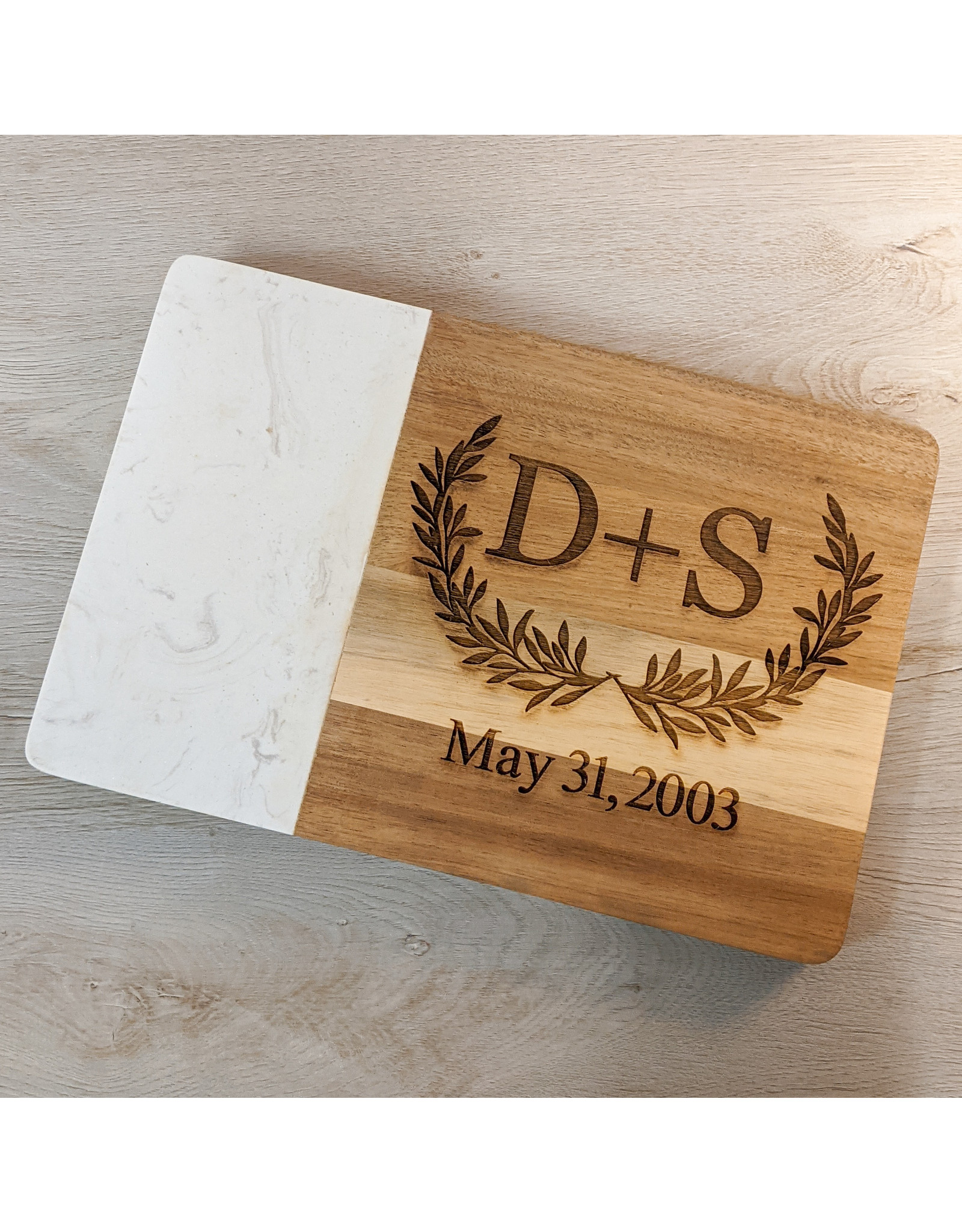 P Graham Dunn Faux Marble Cutting Board Includes Laser Engraving