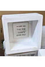 Mud Pie Shadow Box Plaque Wake Up