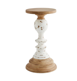 Mud Pie Candlestick Wooden Rustic MD