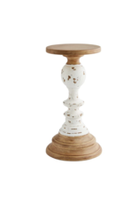 Mud Pie Candlestick Wooden Rustic LG