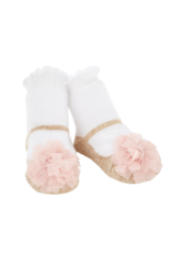 Mud Pie Socks Mesh Pom Gold Shoe