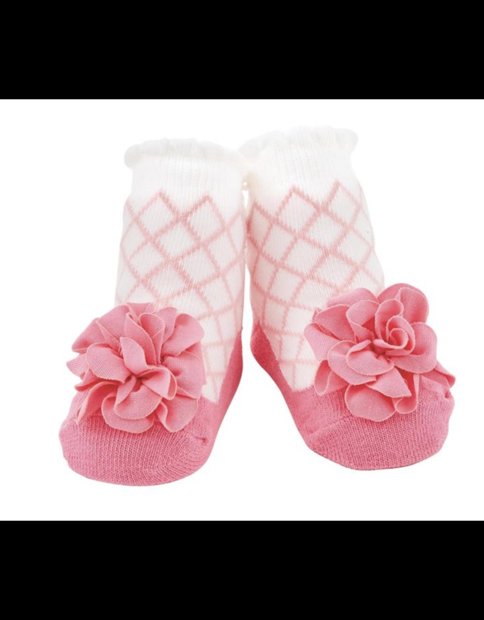 Mud Pie Socks Pink Lattice Flower