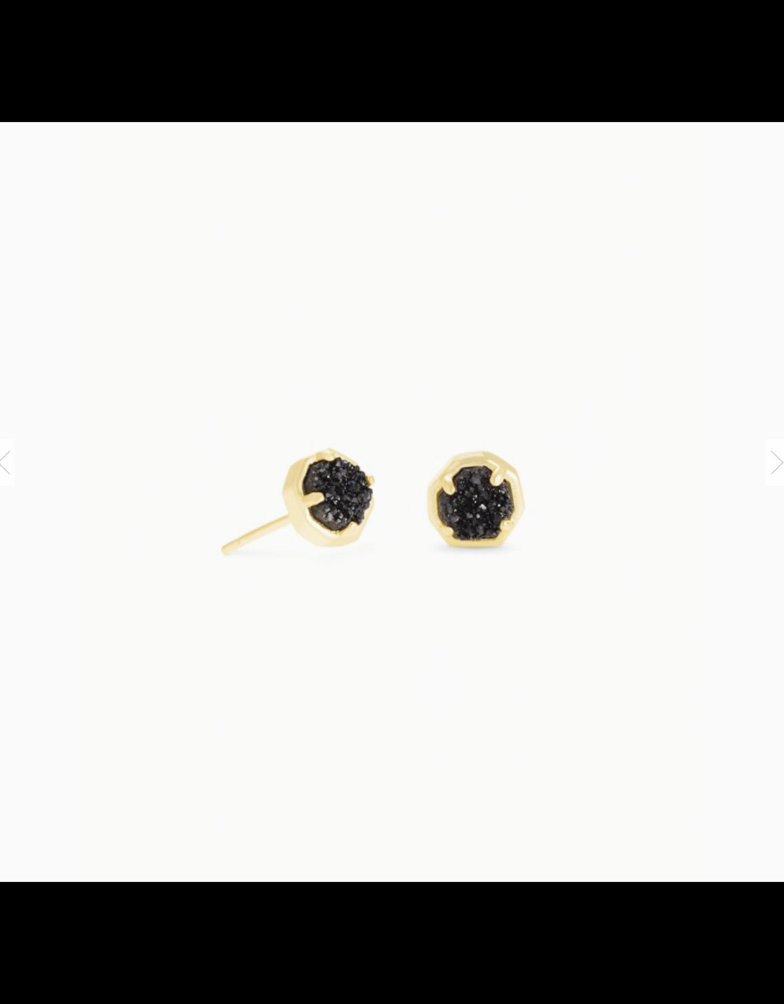 Kendra Scott Earring Nola Stud Gold Black Drusy