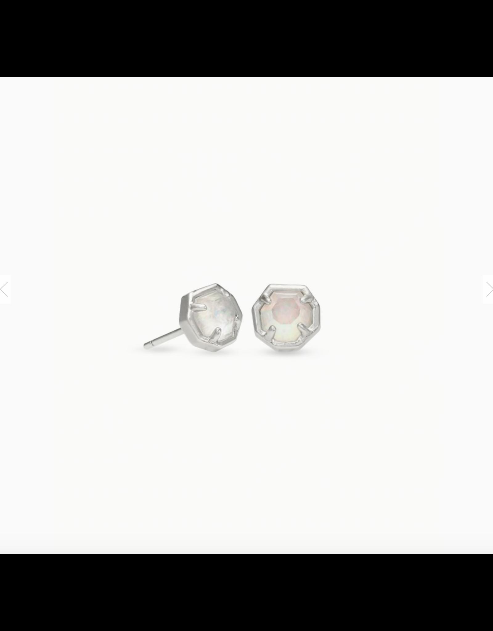 Kendra Scott Earring Nola Stud RHOD White Opal Illusion