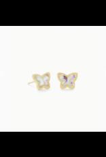 Kendra Scott Earring Lillia Butterfly Stud Gold Dichroic Glass
