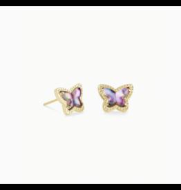 Kendra Scott Earring Lillia Butterfly Stud Gold Lilac Abalone