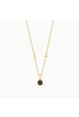 Kendra Scott Necklace Nola Short Pendant Gold Black Drusy