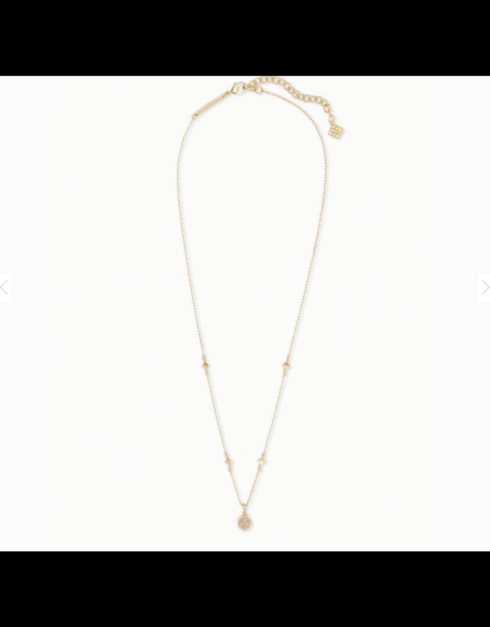 Kendra Scott Necklace Nola Short Pendant Gold Iridescent Drusy