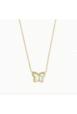 Kendra Scott Necklace Lillia Butterfly Pendant Gold Dichroic Glass