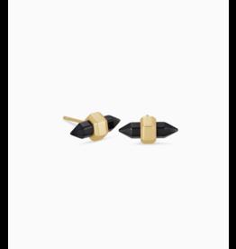 Kendra Scott Earrings Jamie Stud Gold Black Obsidian