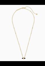 Kendra Scott Necklace Jamie Short Pendant Gold Black Obsidian